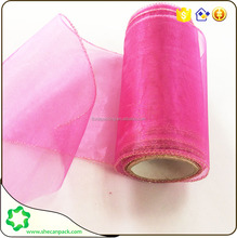 SHECAN 6 inch Pink Wired Organza wrapping Roll