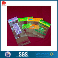 Transparent plastic customized logo resealable opp self adhesive cellophane bags with hanging header