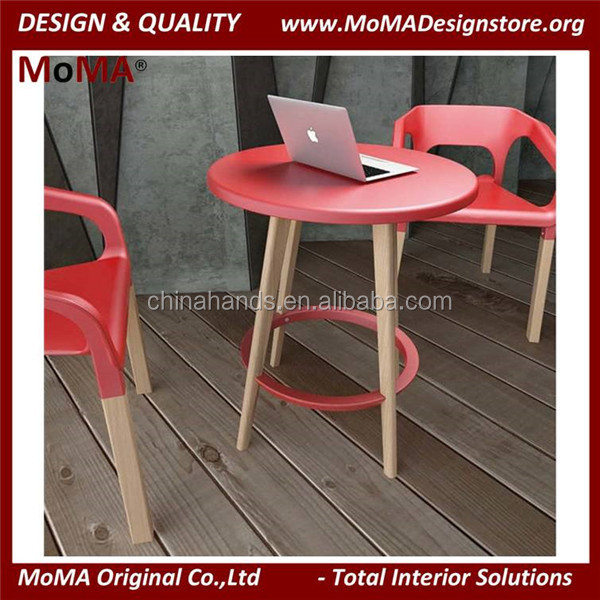 MA112S Leisure Coffee Shop Furniture Modern Wooden Dining Table Round Dining Table With Durable Plastic Top