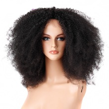 Short kinky afro curly synthetic fiber lace front wig, tangle free afro kinky human hair curly wigs, custom wigs