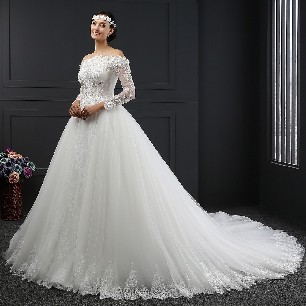 SL-041 Long Sleeve off the Shoulder Lace Ball Gown Wedding Dress 2016