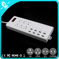 6 pin USA plug 8 usb surge protector safemore socket usb smart power strip