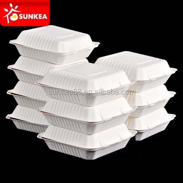 Eco-friendly biodegradable compostable lunch food sugarcane box