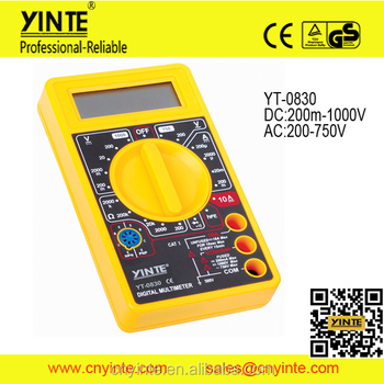 YT-0830 portable AC DC voltage LCD display digital multimeter