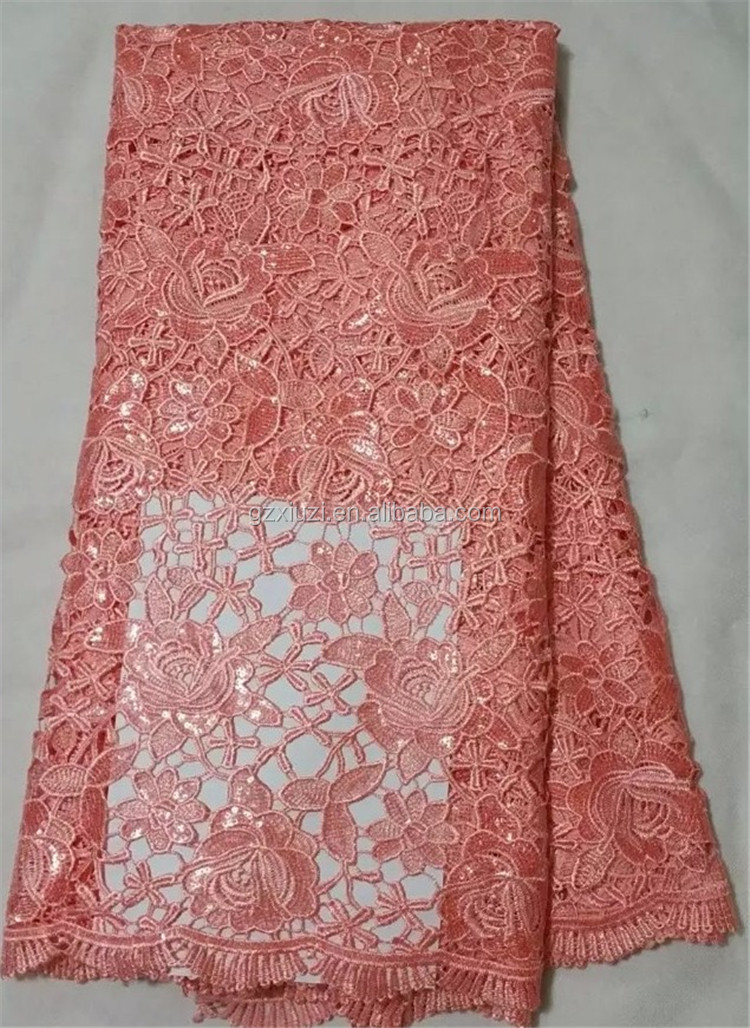 Import nylon african lace red wedding dresses guipure