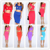 2014 new fashion women two piece bodycon cocktail party dress women fit cut out sexy hot bodycon outfit sexy skirt dress cheap