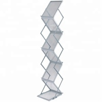 China Supplier Foldable Portable Acrylic Board Aluminum A4 Brochure Holder Rack Stand for Brochure/ Magazine/ Catalogue