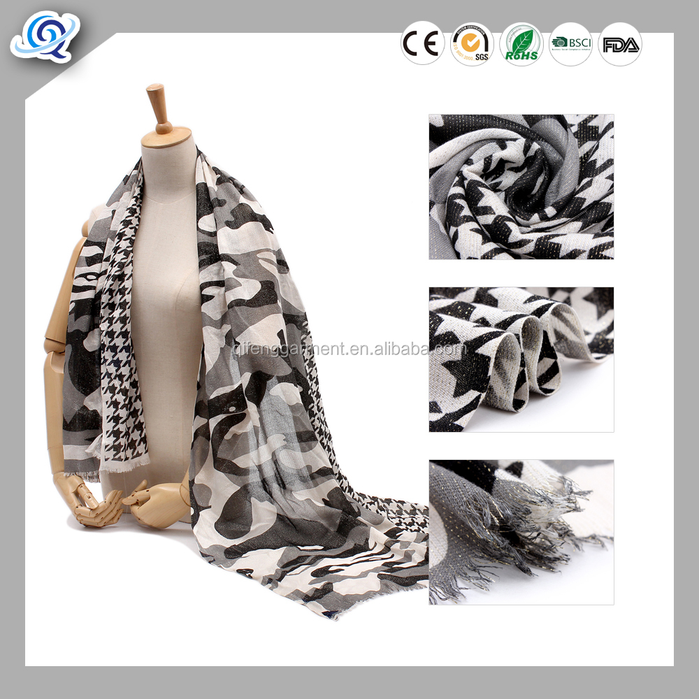 Retro style fashion women plaid polyester scarf