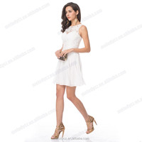 White color satin lace appliqued short frock sleeveless elegant dress patterns