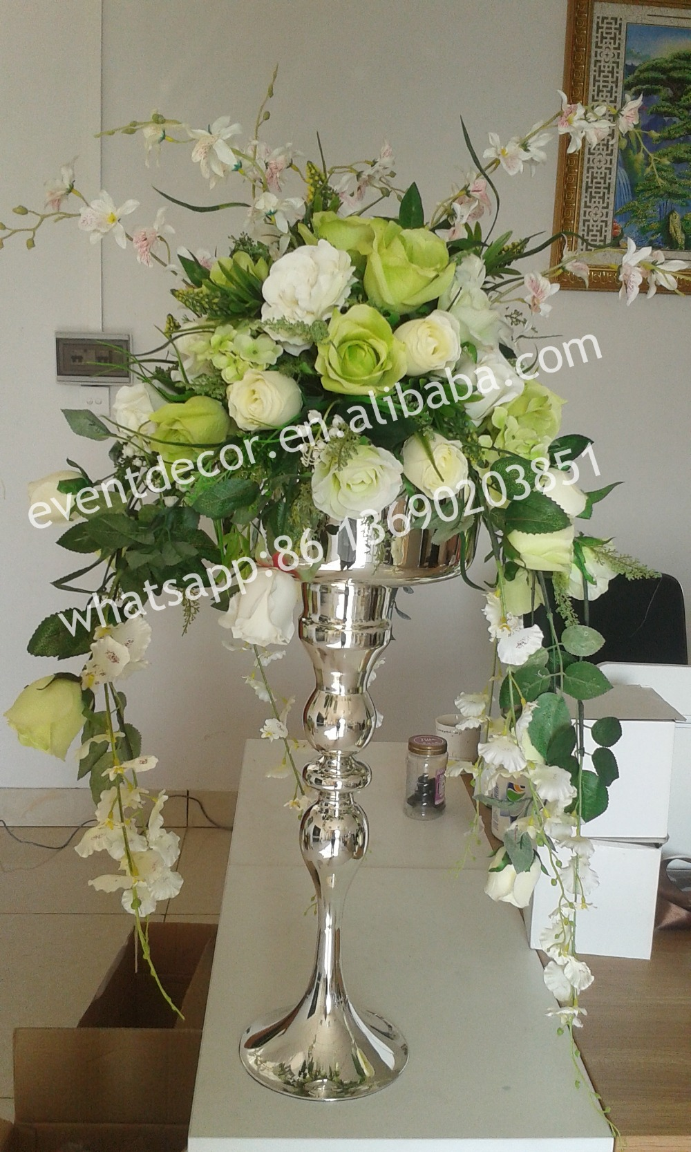 Large silver plated metal flower vase centerpieces
