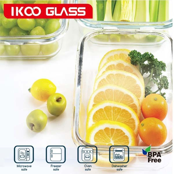 Space-saving Grain container for Microwave oven and refrigerator glass food storage jars