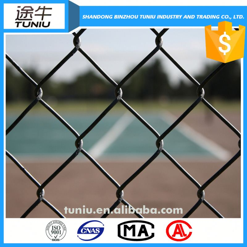 green plastic coated chain link fence for baseball ground