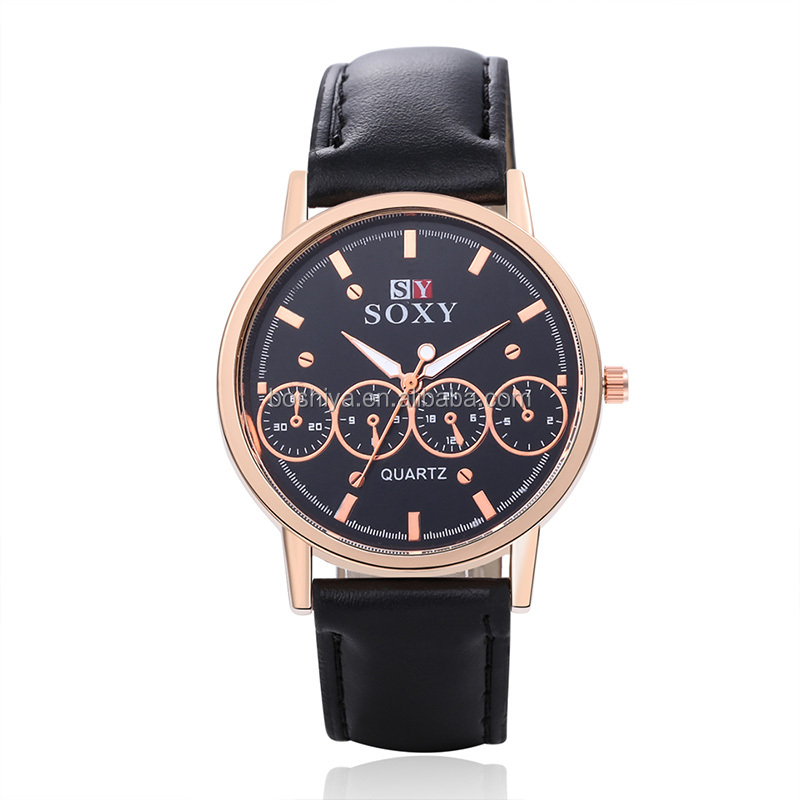 Wirstwatch Fashion face four round shaped alloy case watch for men with leather band