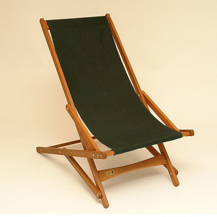 Sturdy wood frame black cotton fabric adjustable folding outdoor chair