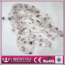 European fashion flora printing silk scarf