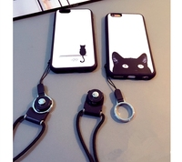 New Soft Rubber Silicone Couples Stripe Mobile Phone Case For iPhone 6 6s 4.7 Cover bag Hang Neck Rope CA1112