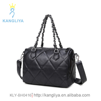 Ladies fancy bags female shoulder bag with chain handles woven pu strips handbag