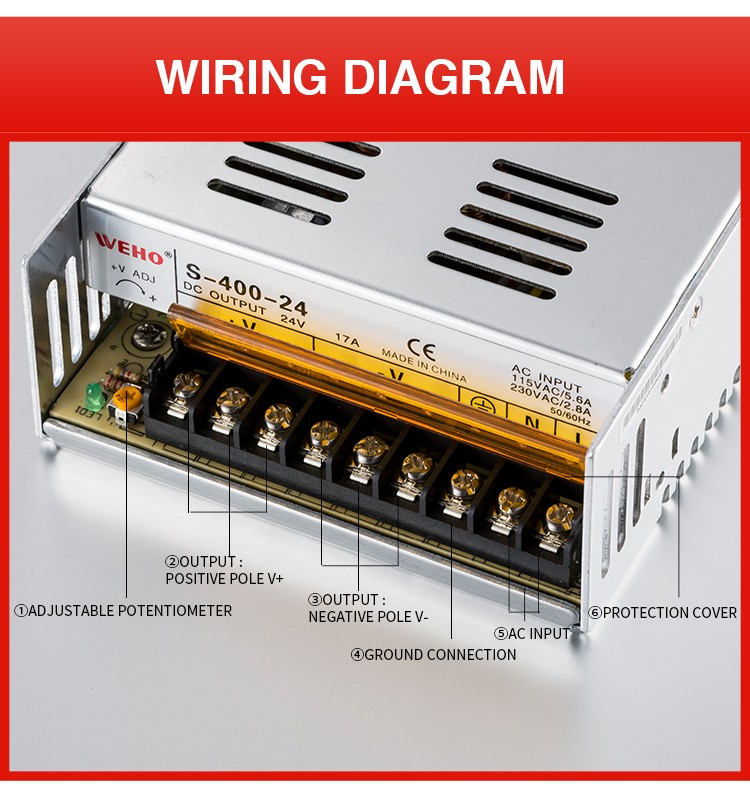 AC110V/220V to DC dc 24v 400w 16.5a 24v power supply
