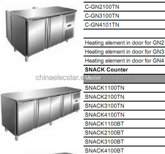 pizza counter, stainless steel refrigeration counter , restaurant kitchen equipment