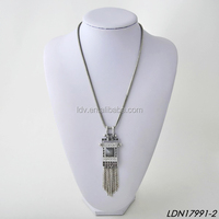 Square Shield Crystal&Acrylic Bead Tassels Necklace Chain Fringe Antique Bronze Dangle Pendant Necklace Jewelry Set
