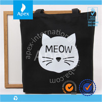 Printed black cat cotton fabric shopping bag