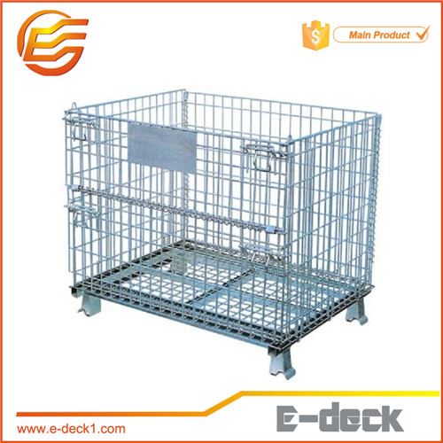 collapsible and stackable wire mesh container zinc coated wire pallet cage