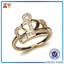 New design royal crown shaped silver ring 18k gold plated finger rings