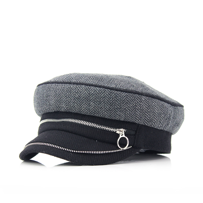 Custom herringbone wool-blend fabric lady and woman army military hats and caps with fashion style zip fastener decoration