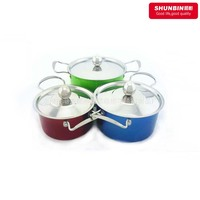 stainless steel korean cookware sets 6pcs pot set color coating soup pot set with ss lid