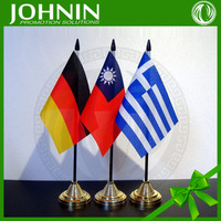 hot sales colorful printing polyester material black plastic pole base germany country desk flag
