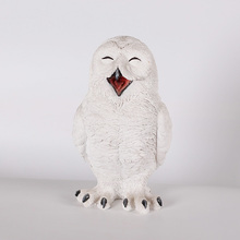 resin smiling white owl for home decoration