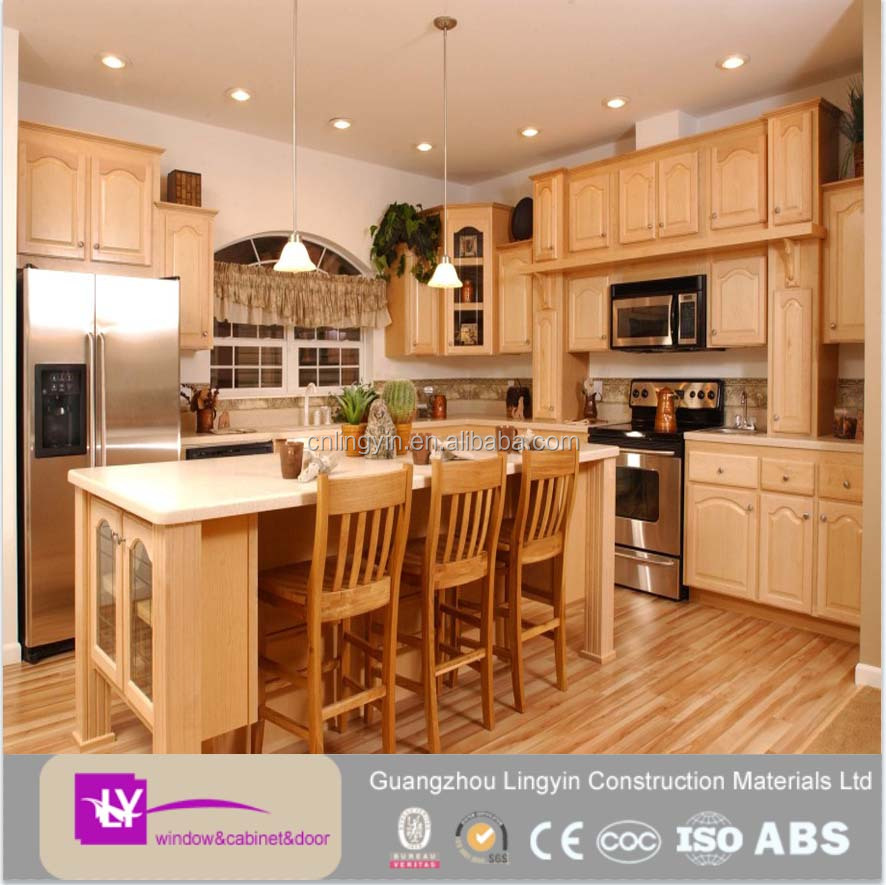 Plywood carcase and solid wood door material kitchen cabinet from Guangzhou supplier