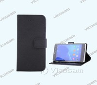 High Quality Genuine Leather Wallet Stand Case With Card Holders For Sony Xperia Z4