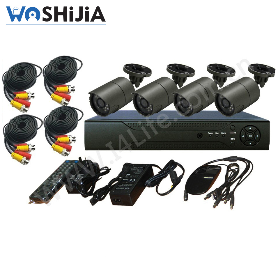 4CH H.264 HDMI Mini P2P Cloud Full D1 CCTV DVR Home kit wired security camera