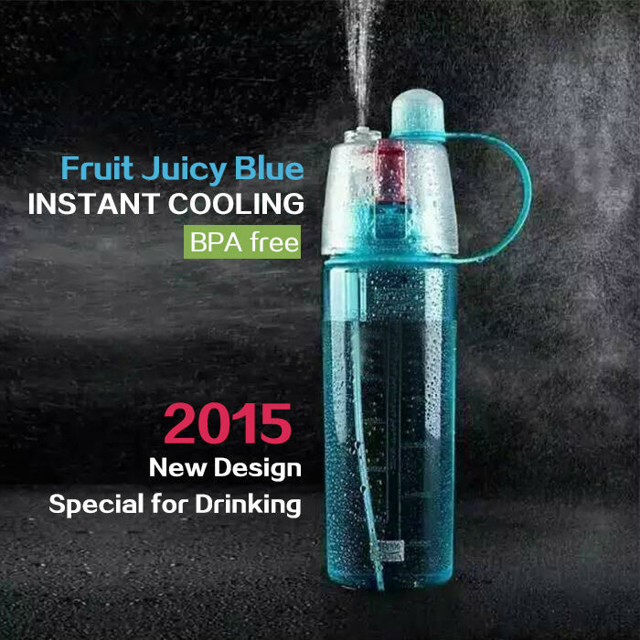 Mountop tritan plastic water bottle summer mist spray water bottle <strong>sports</strong> drink bottle with straws