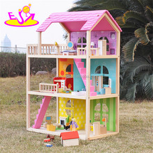 new design pink girls pretend play wooden doll house toys W06A170