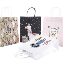 Custom Alpaca Llama <strong>Paper</strong> Gift Bag Birthday Party Wedding Decorations Packaging Candy Bag printing