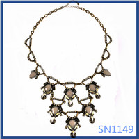 Low price best selling models antique gold plated metal long pendant necklaces for girls