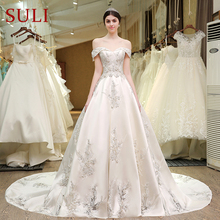 SL-83 Designer Wedding Bridal Gowns Satin Embroidered Pearls Bling Lace Wedding Dress