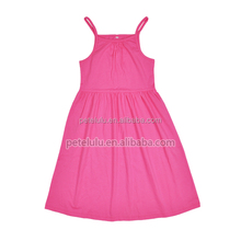 Girls cotton knit ruffle dresses ruffle blank girls cotton dress high quality cute baby wholesale casual outdoor dresses
