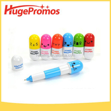 Promotional Pill Shaped Ball Pen Plastic Retractable Ballpoint Pen