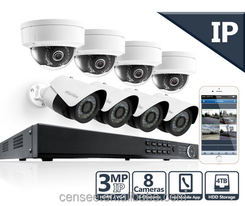 1080P 2MP 8 Camera Security System 8 Channel IP PoE NVR 4TB HDD