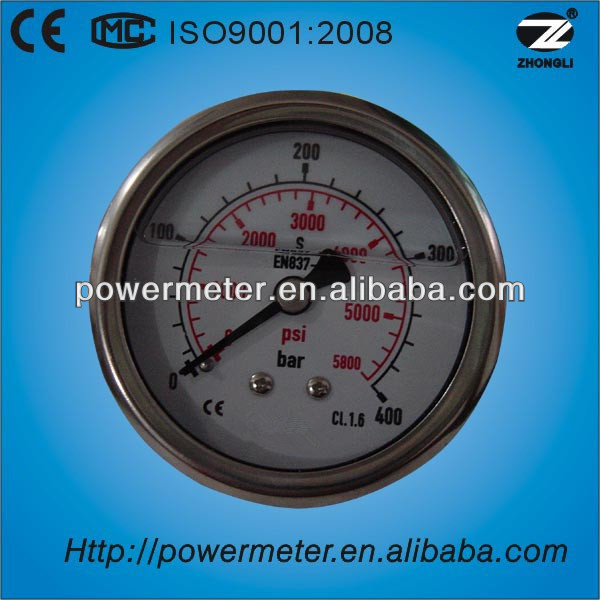 63mm diameter back double scale 400 bar/5800psi oil wise calibration standard pressure gauges