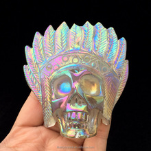 New Arrival Angel Aura Quartz Carved Crystal Native American Skulls for sale