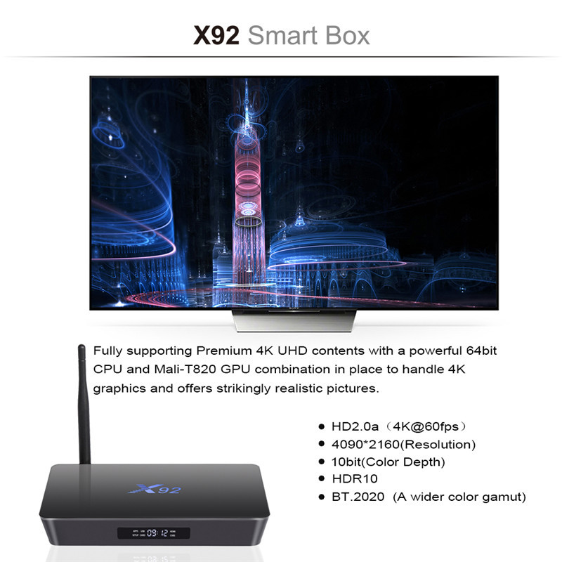 2019 Factory price android S912 media player download video HD songs 2G 16G quad core X92 TV box smart tv box android