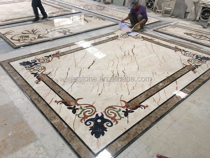 Luxury villa home hotel hall flooring waterjet tiles designs with Natural Sodalite Blue Stone