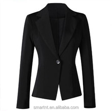 Elegant Woman One Button Blazer One Piece Jacket For Office Lady Black Woman Suit