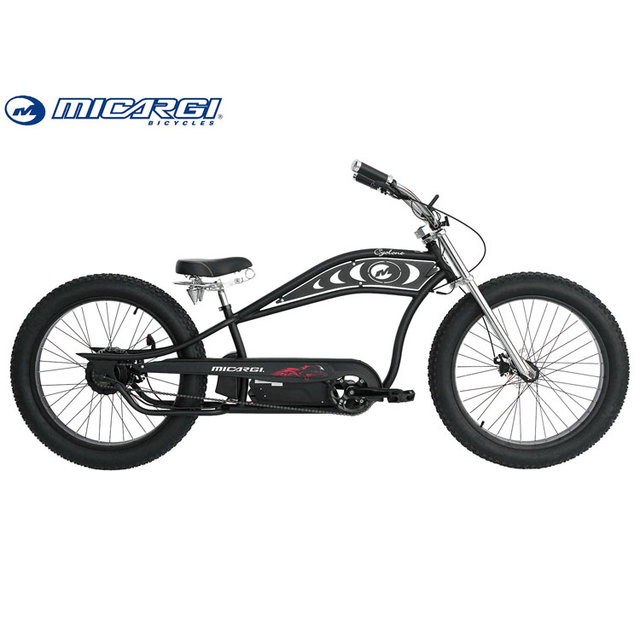 Micargi 26'' Fat Tire E Bike CYCLONE 250W/350W/500W Chopper Cruiser Snow Electric Bicycle