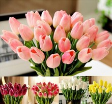30pcs/lot Tulip Artificial Flower PU artificial bouquet Real touch flowers For Home decoration Wedding Decorative Flowers