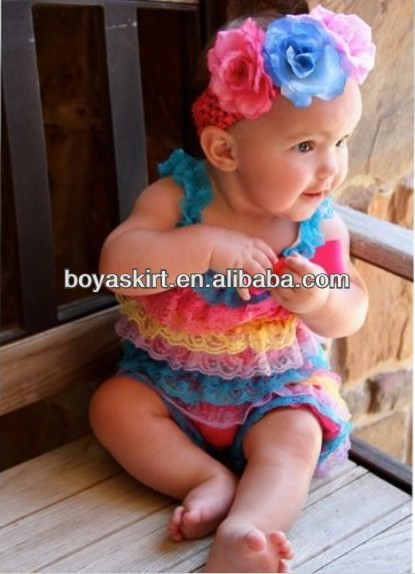 2015 Wholesale high quality!rainbow lace ruffle romper baby romper RO008